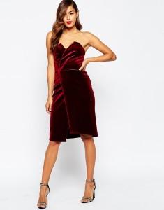 ASOS Velvet Asymmetric Bandeau Midi Dress