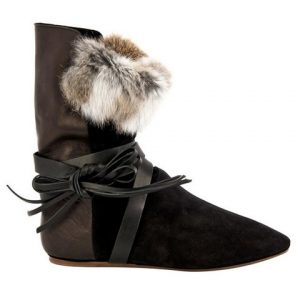 Isabel Marant Nia suede, leather, and fur boots