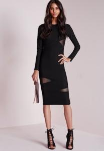 Mesh sleeve midi dress black1
