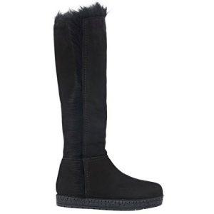 Prada fur-trimmed espadrille knee boots