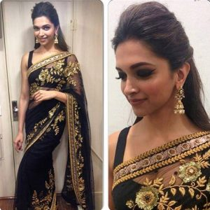 Deepika-Padukone-in-Black-Transparent-Saree-at-Dil-Se-Naache-Indiawaale-to-Promoted-HYN