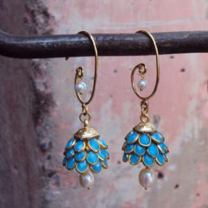 Sitara-Goldtone-Turquoise-Blue-Floral-Cluster-Dangle-Earrings-India-P16322608