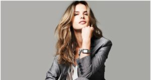 Alessandra-Ambrosio-in-Men-Dress-with-Wrist-Watch