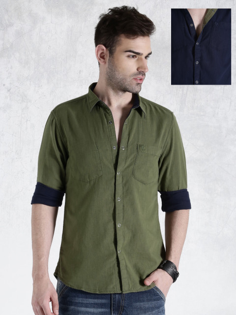 11469534474612-Roadster-Olive-Green--Navy-Reversible-Casual-Shirt-9001469534474336-1