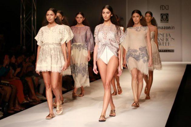 New Delhi: A model displays the creation of fashion designer Rehane during the Amazon India Fashion Week Spring/Summer 2017 in New Delhi on Oct 16, 2016. (Photo: Amlan Paliwal/IANS)