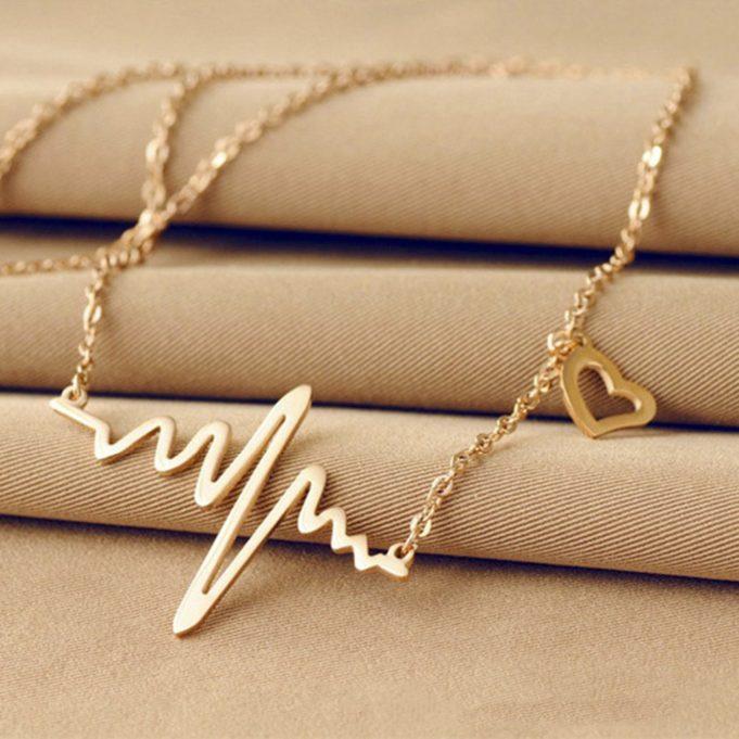 2017-Trendy-Necklace-Glod-Electrocardiogram-Love-Necklace-Simple-font-b-Design-b-font-More-Charming-Drop