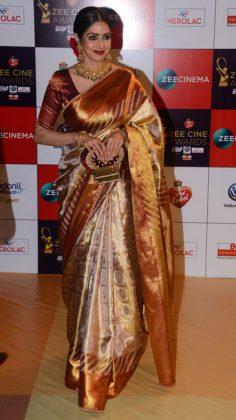 Zee-Cine-AwaZee Cine Awards 2017 _ style godsrds-Sridevi-in-Sabyasachi