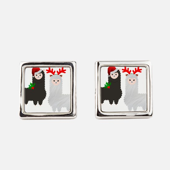 christmas_reindeer_alpacas_square_cufflinks