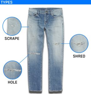ripped and distressed clothing-Types