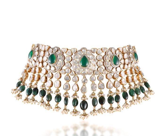 Jadau-Necklace-b2018 Jewellery Trend - Style Godsy-Narayan-Jewellers-by-Ketan-Jatin-Chokshi-Vadodara-set-with-Gemfields-Zambian-Emeralds