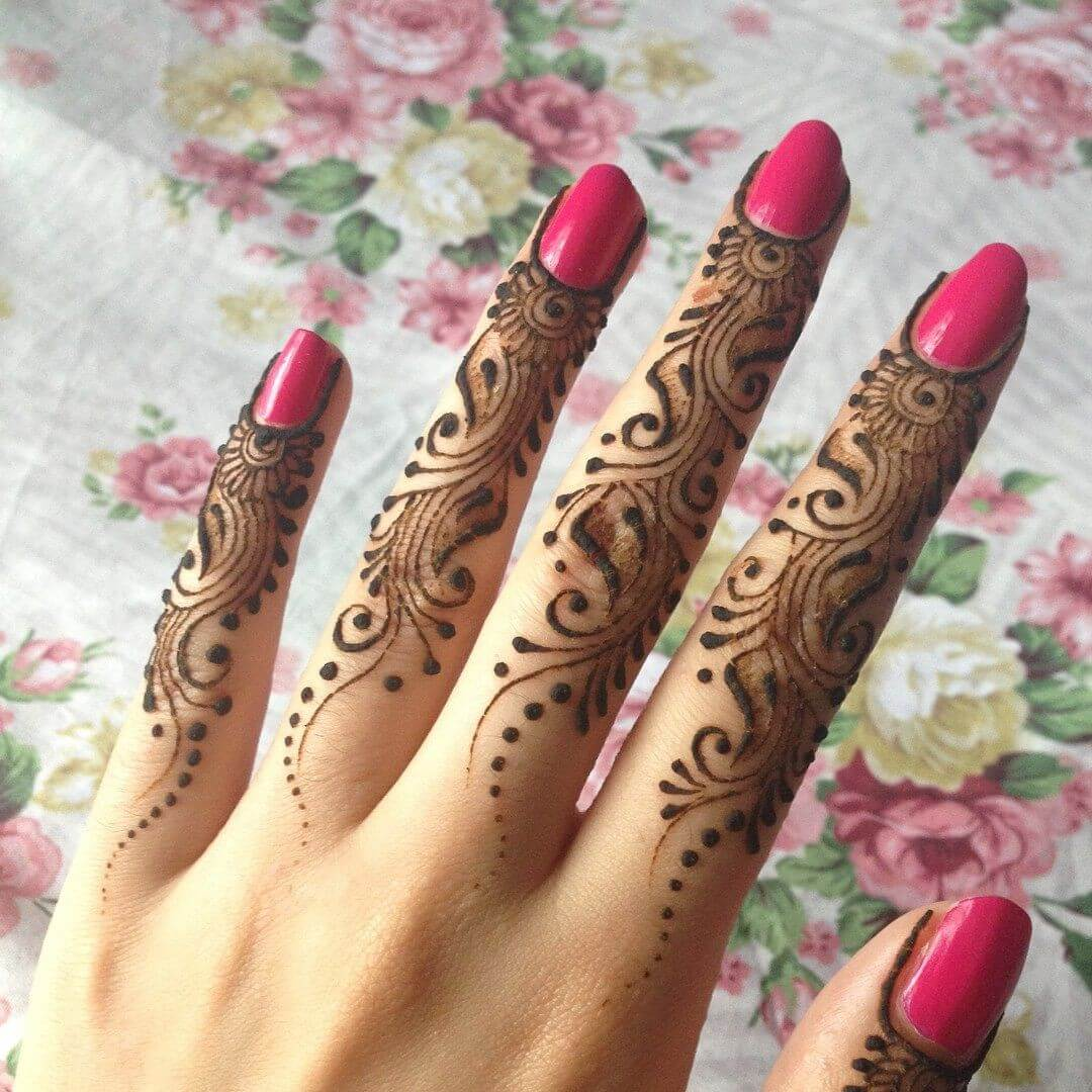 Simply Dotted Finger Mehndi Designs-stylegods