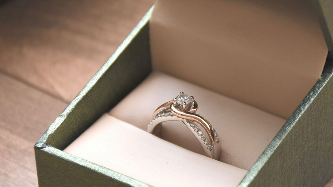 Two-Tone Bypass Diamond Engagement Ring