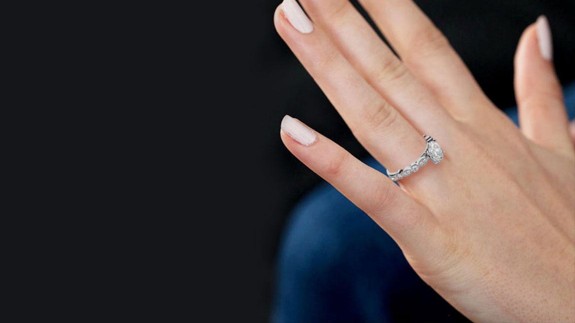 Knife Edge Milgrain Diamond Engagement Ring